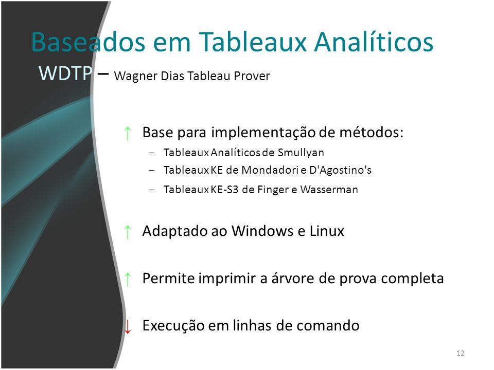 12 Baseados em Tableaux Analíticos Base para implementação de métodos: Tableaux Analíticos de Smullyan Tableaux KE de Mondadori e D'Agostino's Tableau