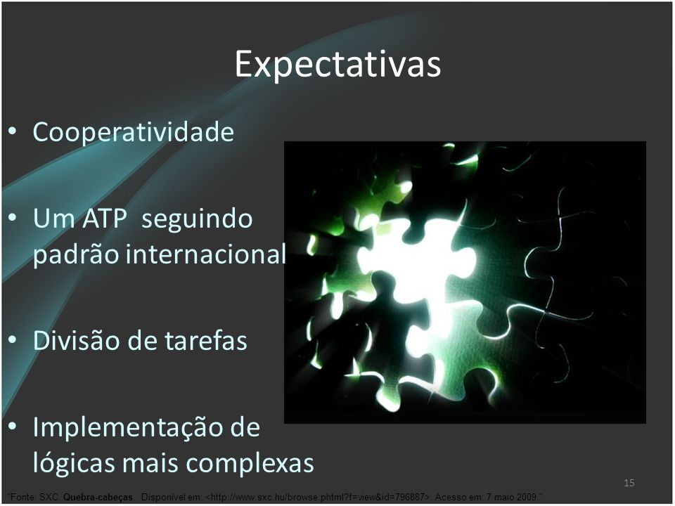 15 Expectativas Cooperatividade Um ATP seguindo padrão internacional Divisão de tarefas Implementação de lógicas mais complexas
