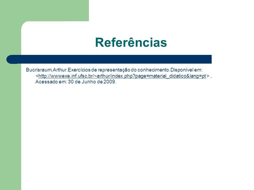 Referências Bucrisraum,Arthur.Exercícios de representação do conhecimento.Disponível em:, Acessado em: 30 de Junho de 2009.http://wwwexe.inf.ufsc.br/~arthur/index.php?page=material_didatico&lang=pt