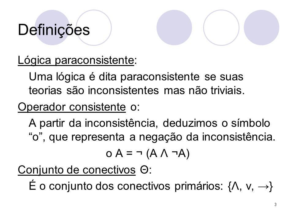 3 Definições Lógica paraconsistente: Uma lógica é dita paraconsistente se suas teorias são inconsistentes mas não triviais. Operador consistente ο: A