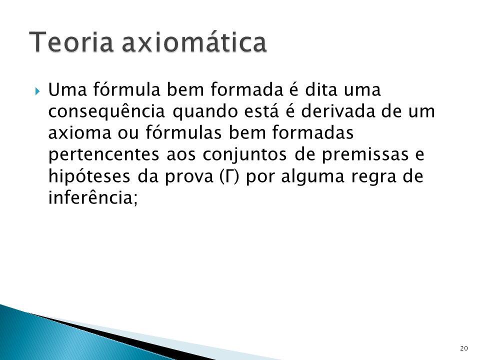 Uma fórmula bem formada é dita uma consequência quando está é derivada de um axioma ou fórmulas bem formadas pertencentes aos conjuntos de premissas e