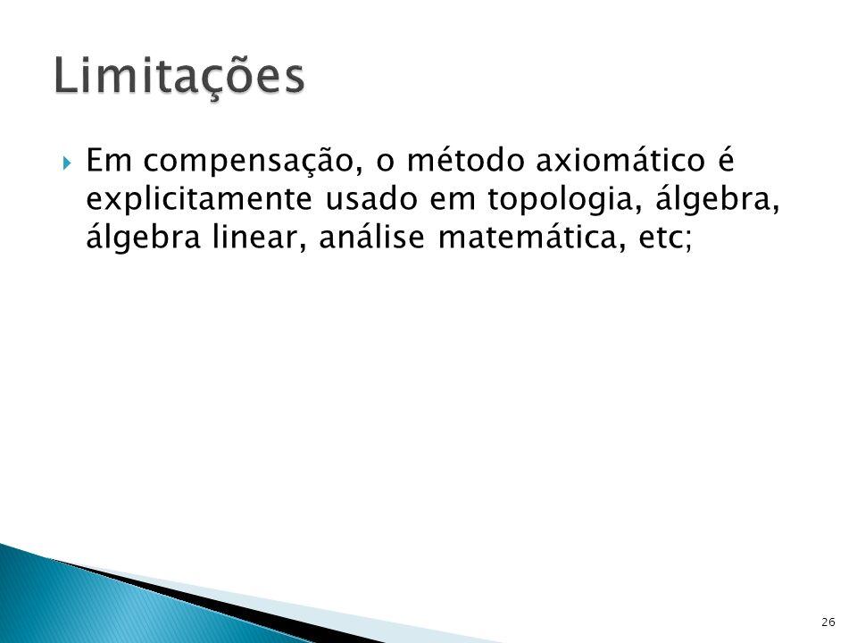 Em compensação, o método axiomático é explicitamente usado em topologia, álgebra, álgebra linear, análise matemática, etc; 26
