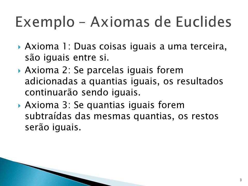 Axioma 1: Duas coisas iguais a uma terceira, são iguais entre si. Axioma 2: Se parcelas iguais forem adicionadas a quantias iguais, os resultados cont