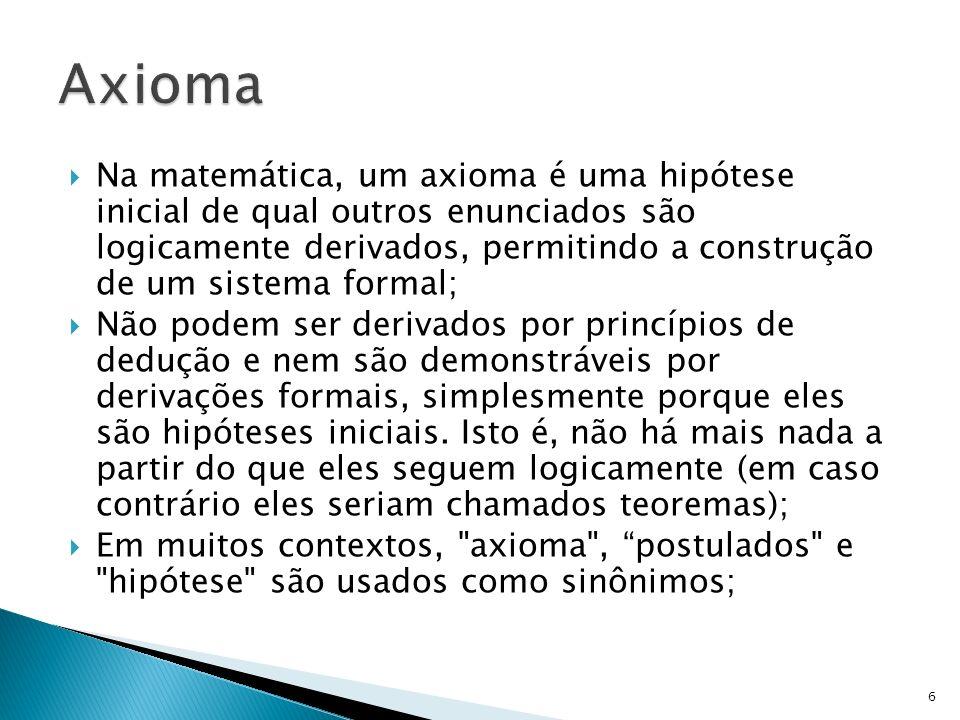 Na matemática, um axioma é uma hipótese inicial de qual outros enunciados são logicamente derivados, permitindo a construção de um sistema formal; Não
