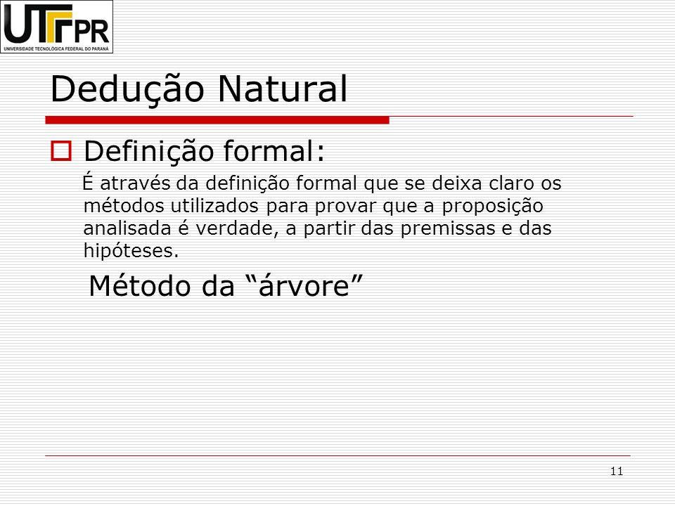 11 Dedução Natural Definição formal: É através da definição formal que se deixa claro os métodos utilizados para provar que a proposição analisada é v