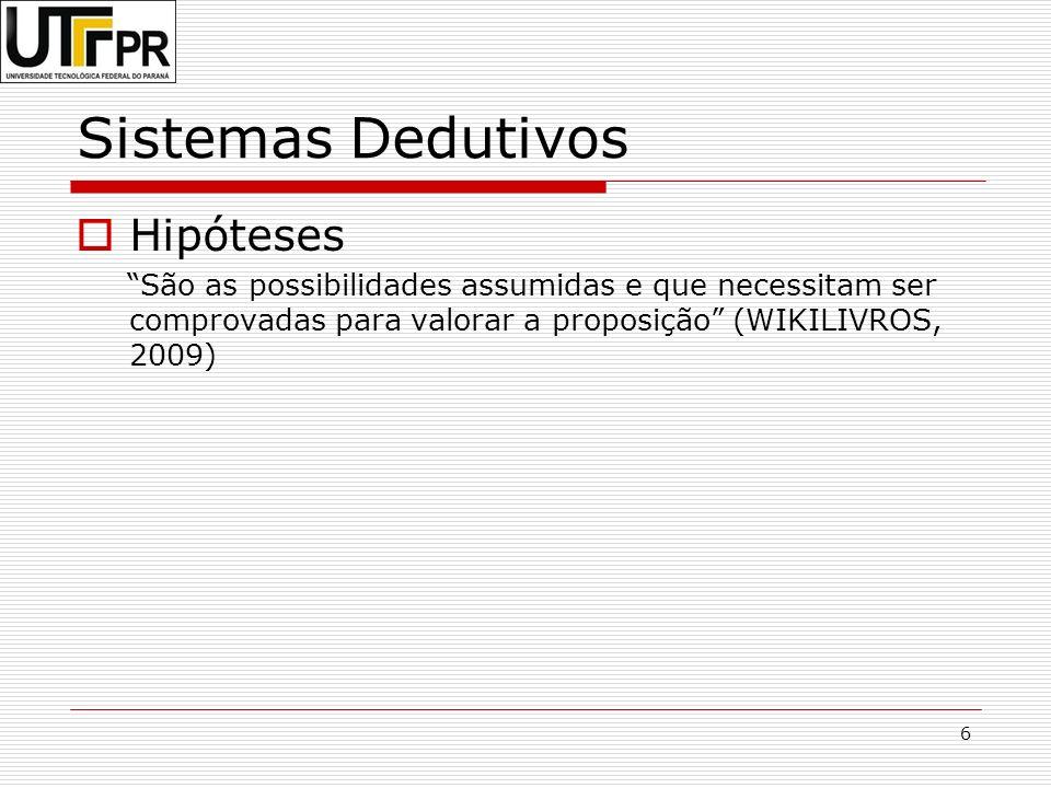 6 Sistemas Dedutivos Hipóteses São as possibilidades assumidas e que necessitam ser comprovadas para valorar a proposição (WIKILIVROS, 2009)