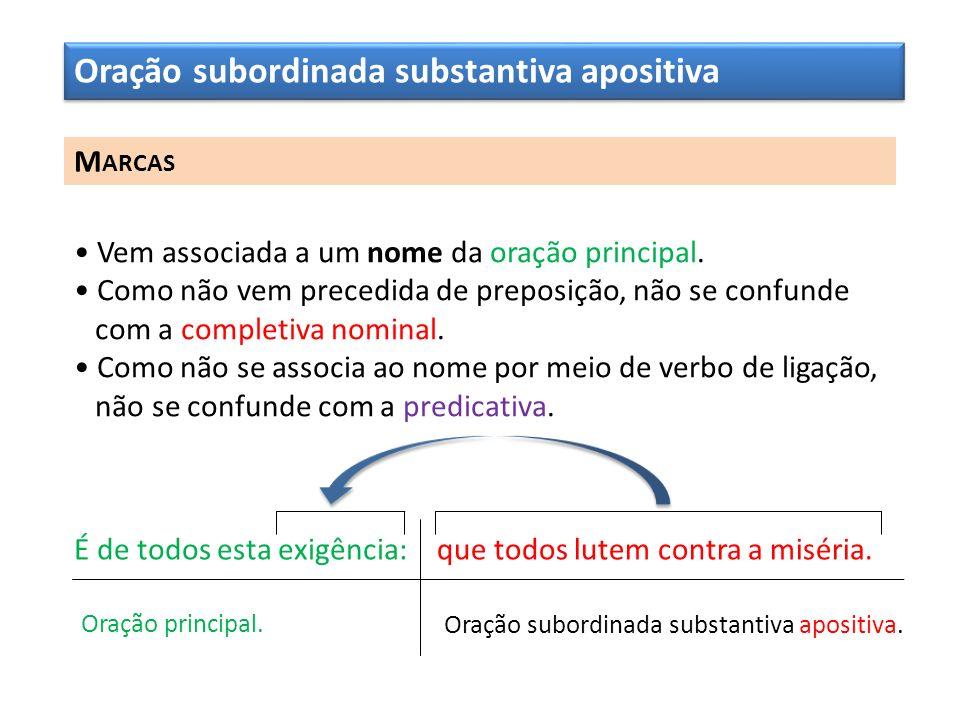 Oração subordinada substantiva apositiva M ARCAS Vem associada a um nome da oração principal. Como não vem precedida de preposição, não se confunde co