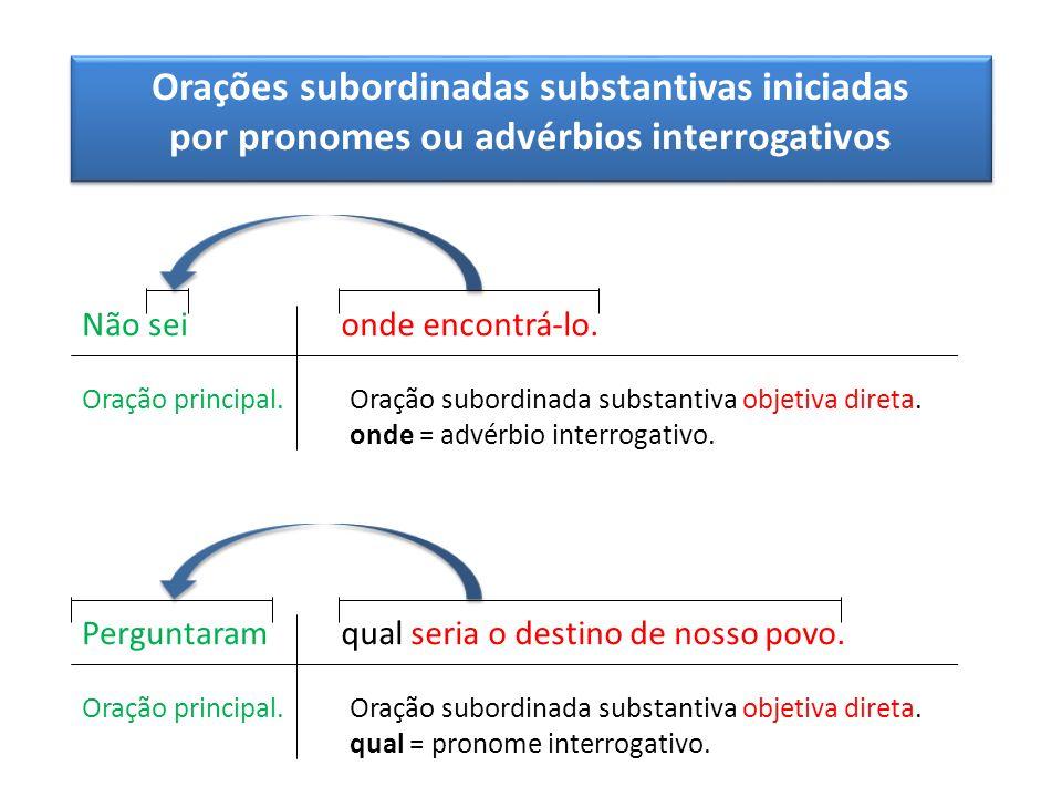 Orações subordinadas substantivas iniciadas por pronomes ou advérbios interrogativos Orações subordinadas substantivas iniciadas por pronomes ou advér