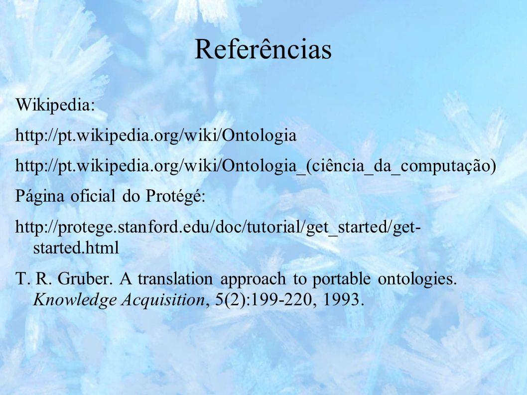 Referências Wikipedia: http://pt.wikipedia.org/wiki/Ontologia http://pt.wikipedia.org/wiki/Ontologia_(ciência_da_computação) Página oficial do Protégé