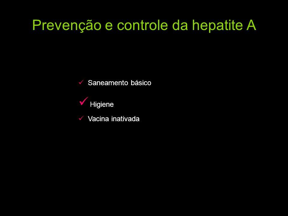 Prevenção e controle da hepatite A Saneamento básico Higiene Vacina inativada