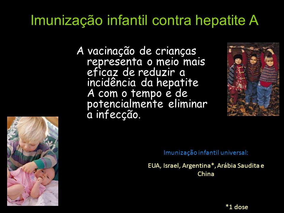 Imunização infantil contra hepatite A A vacinação de crianças representa o meio mais eficaz de reduzir a incidência da hepatite A com o tempo e de pot