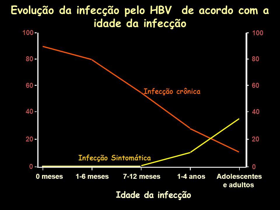 Evolução da infecção pelo HBV de acordo com a idade da infecção Infecção Sintomática Infecção crônica Idade da infecção 0 meses 1-6 meses7-12 meses 1-