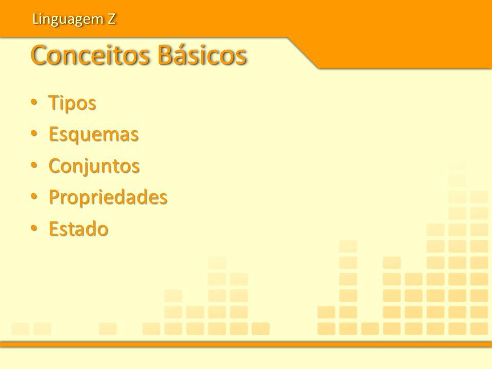 Conceitos Básicos Tipos Tipos Esquemas Esquemas Conjuntos Conjuntos Propriedades Propriedades Estado Estado Linguagem Z