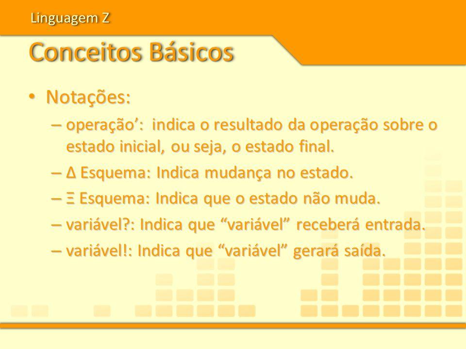 Conceitos Básicos Notações: Notações: – operação: indica o resultado da operação sobre o estado inicial, ou seja, o estado final. – Δ Esquema: Indica