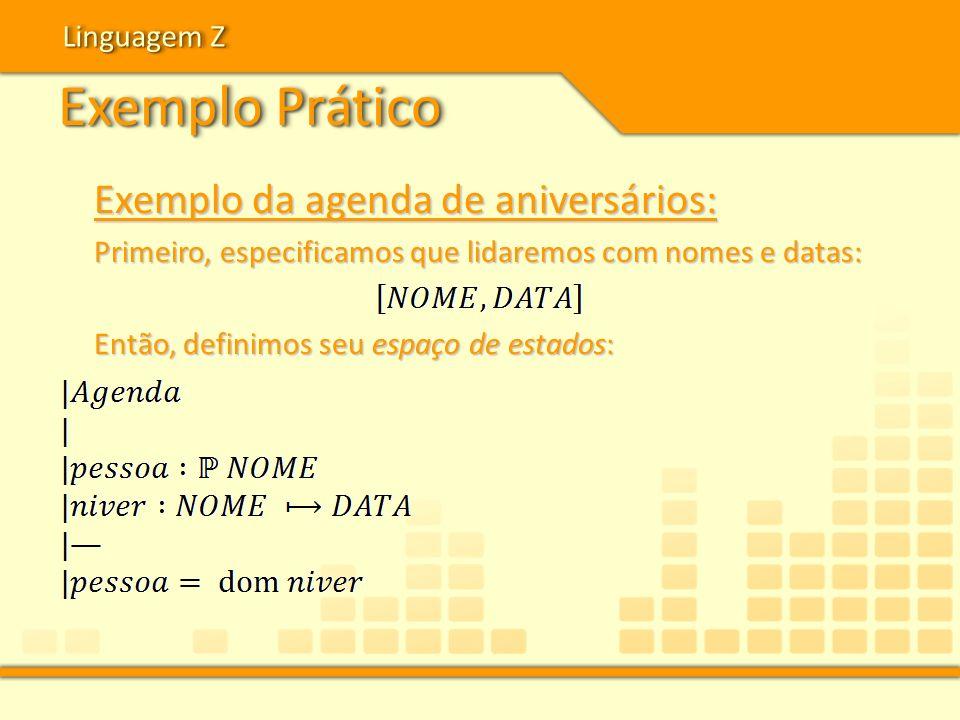 Exemplo Prático Linguagem Z Exemplo da agenda de aniversários: Primeiro, especificamos que lidaremos com nomes e datas: Então, definimos seu espaço de