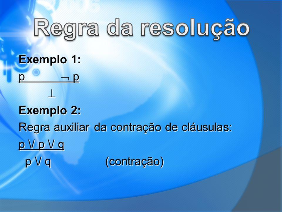 Exemplo 1: p p Exemplo 2: Regra auxiliar da contração de cláusulas: p \/ p \/ q p \/ q (contração) p \/ q (contração)