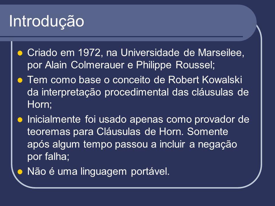 Introdução Criado em 1972, na Universidade de Marseilee, por Alain Colmerauer e Philippe Roussel; Tem como base o conceito de Robert Kowalski da inter