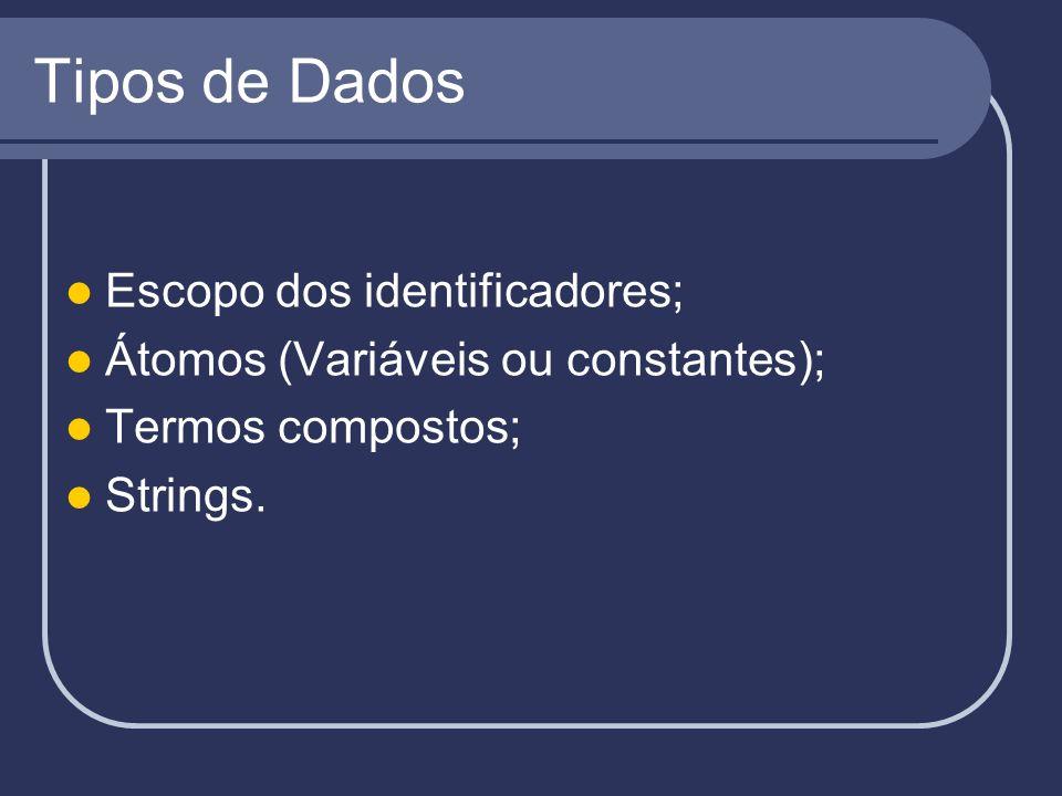 Tipos de Dados Escopo dos identificadores; Átomos (Variáveis ou constantes); Termos compostos; Strings.