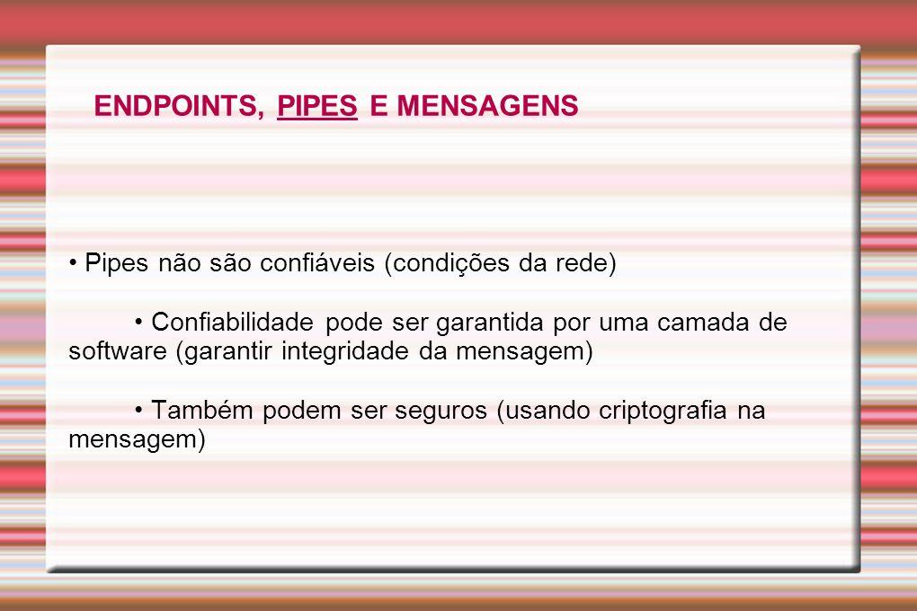 Pipes não são confiáveis (condições da rede) Confiabilidade pode ser garantida por uma camada de software (garantir integridade da mensagem) Também po