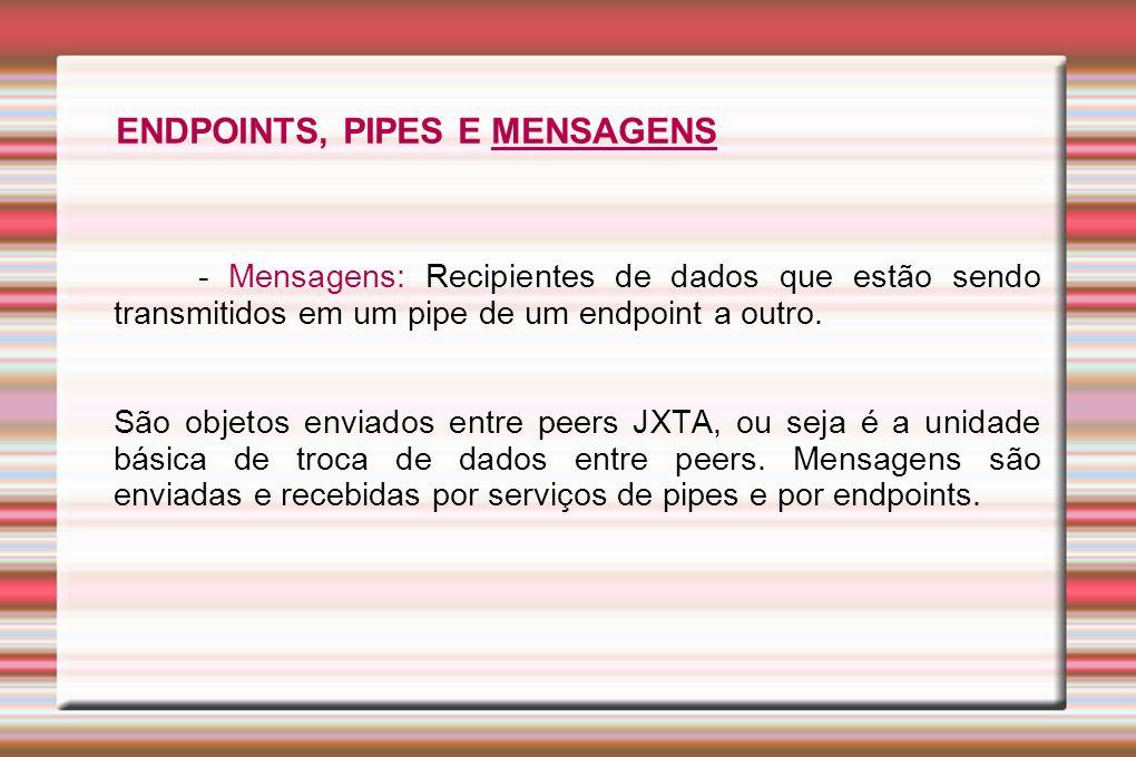 - Mensagens: Recipientes de dados que estão sendo transmitidos em um pipe de um endpoint a outro. São objetos enviados entre peers JXTA, ou seja é a u