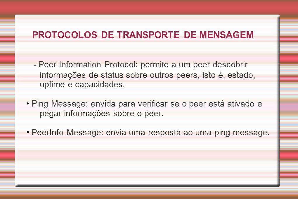 PROTOCOLOS DE TRANSPORTE DE MENSAGEM - Peer Information Protocol: permite a um peer descobrir informações de status sobre outros peers, isto é, estado