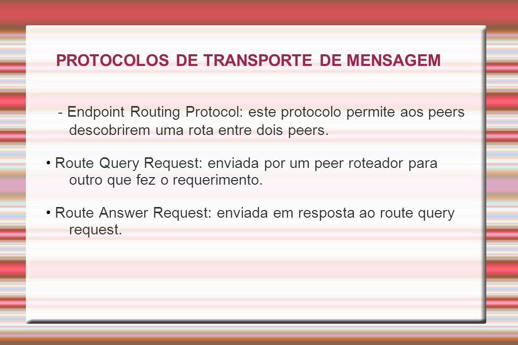 PROTOCOLOS DE TRANSPORTE DE MENSAGEM - Endpoint Routing Protocol: este protocolo permite aos peers descobrirem uma rota entre dois peers. Route Query
