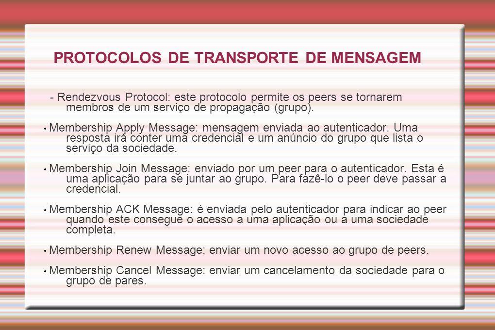 PROTOCOLOS DE TRANSPORTE DE MENSAGEM - Rendezvous Protocol: este protocolo permite os peers se tornarem membros de um serviço de propagação (grupo). M