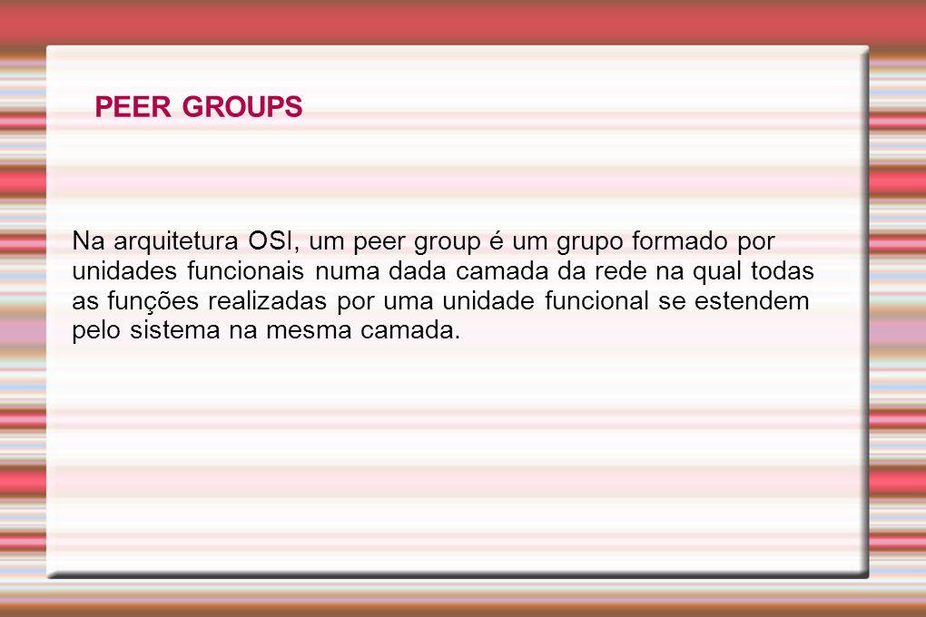 Na arquitetura OSI, um peer group é um grupo formado por unidades funcionais numa dada camada da rede na qual todas as funções realizadas por uma unid