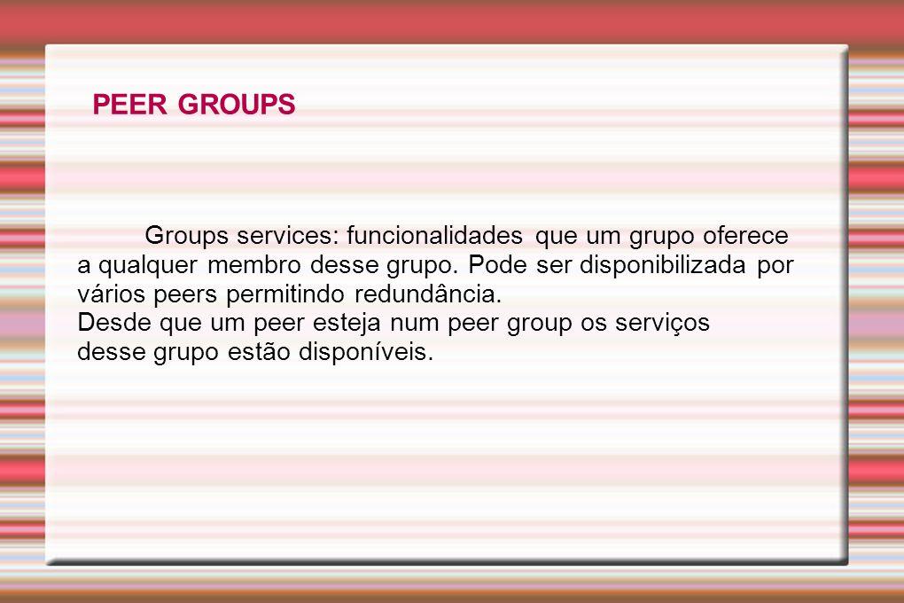 Groups services: funcionalidades que um grupo oferece a qualquer membro desse grupo. Pode ser disponibilizada por vários peers permitindo redundância.