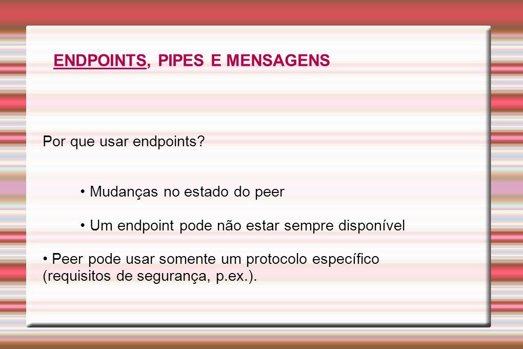 Por que usar endpoints? Mudanças no estado do peer Um endpoint pode não estar sempre disponível Peer pode usar somente um protocolo específico (requis