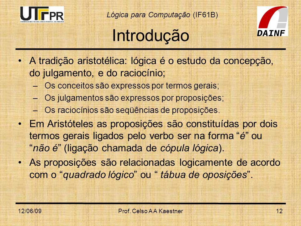 Lógica para Computação (IF61B) 12/06/09Prof. Celso A A Kaestner12 Introdução A tradição aristotélica: lógica é o estudo da concepção, do julgamento, e