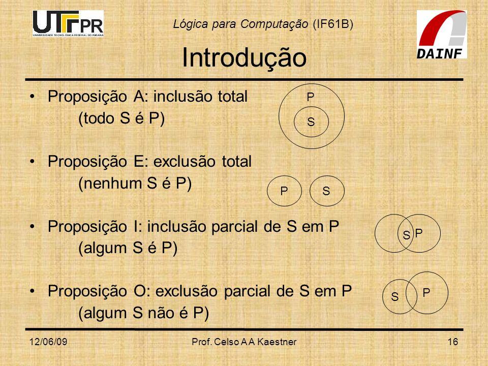 Lógica para Computação (IF61B) 12/06/09Prof. Celso A A Kaestner16 Introdução Proposição A: inclusão total (todo S é P) Proposição E: exclusão total (n