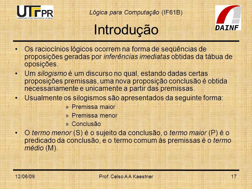 Lógica para Computação (IF61B) 12/06/09Prof. Celso A A Kaestner17 Introdução Os raciocínios lógicos ocorrem na forma de seqüências de proposições gera
