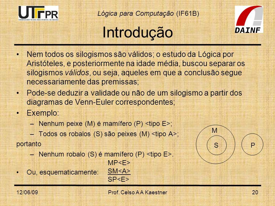 Lógica para Computação (IF61B) 12/06/09Prof. Celso A A Kaestner20 Introdução Nem todos os silogismos são válidos; o estudo da Lógica por Aristóteles,