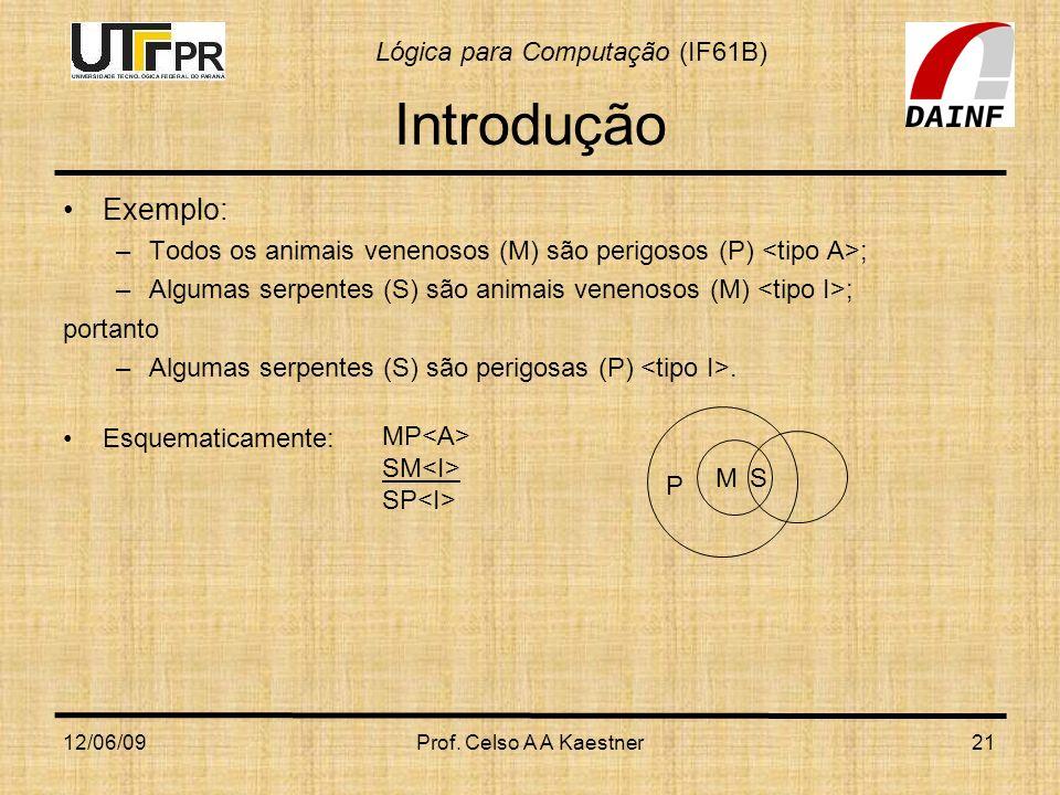 Lógica para Computação (IF61B) 12/06/09Prof. Celso A A Kaestner21 Introdução Exemplo: –Todos os animais venenosos (M) são perigosos (P) ; –Algumas ser