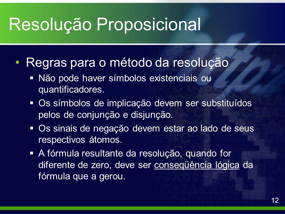 Resolução Proposicional Regras para o método da resolução Não pode haver símbolos existenciais ou quantificadores. Os símbolos de implicação devem ser