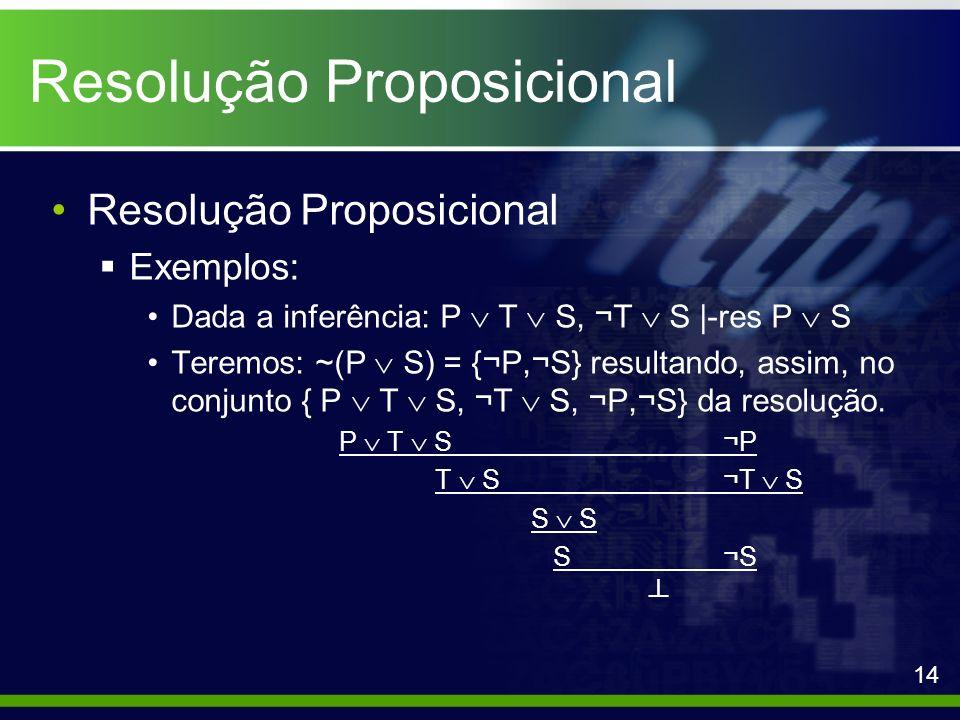 Resolução Proposicional Exemplos: Dada a inferência: P T S, ¬T S |-res P S Teremos: ~(P S) = {¬P,¬S} resultando, assim, no conjunto { P T S, ¬T S, ¬P,