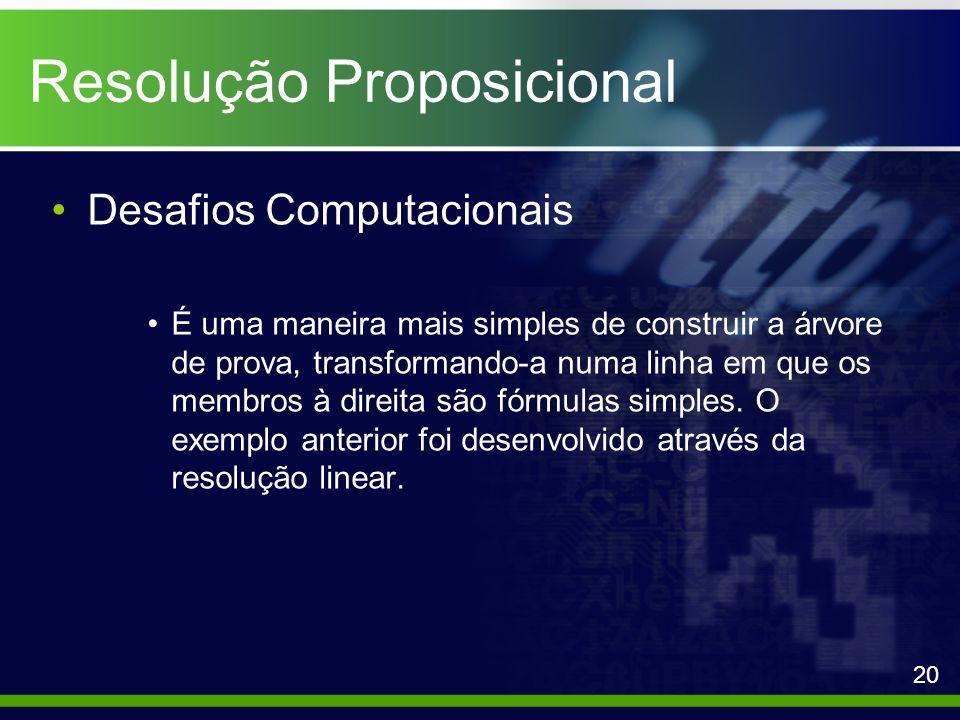 Resolução Proposicional Desafios Computacionais É uma maneira mais simples de construir a árvore de prova, transformando-a numa linha em que os membro