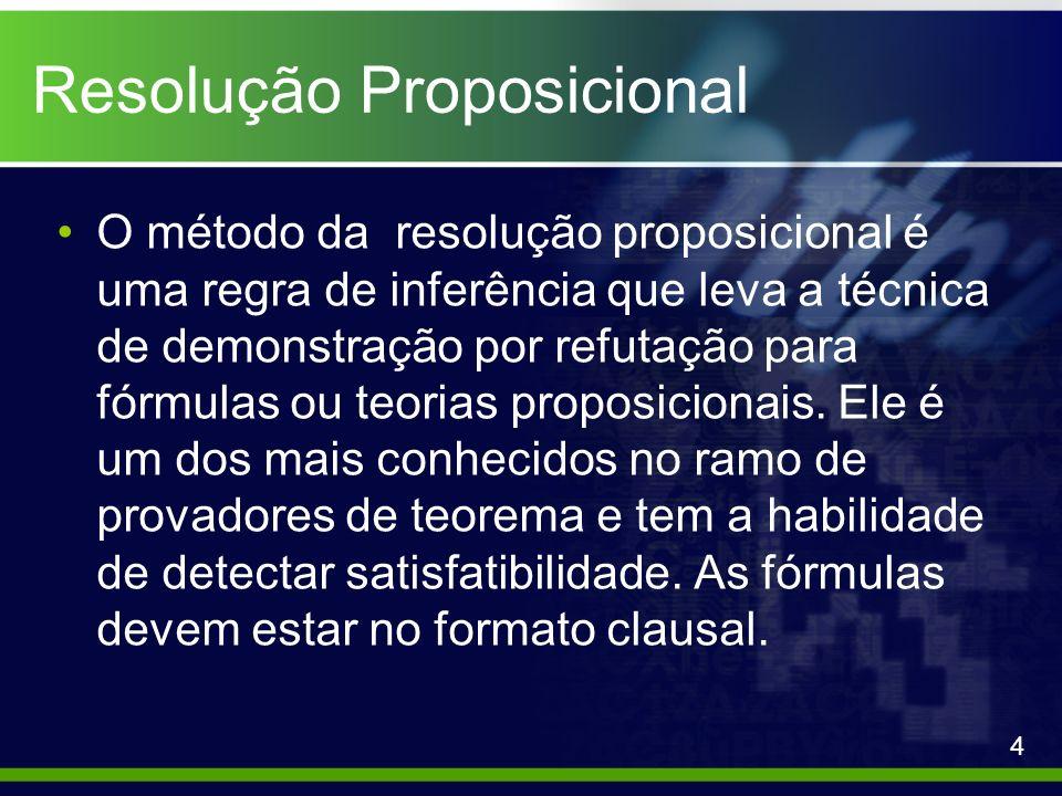 Resolução Proposicional O método da resolução proposicional é uma regra de inferência que leva a técnica de demonstração por refutação para fórmulas o