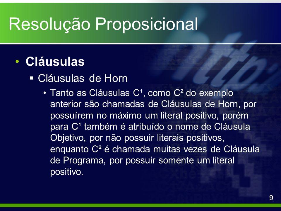 Resolução Proposicional Cláusulas Cláusulas de Horn Tanto as Cláusulas C¹, como C² do exemplo anterior são chamadas de Cláusulas de Horn, por possuíre