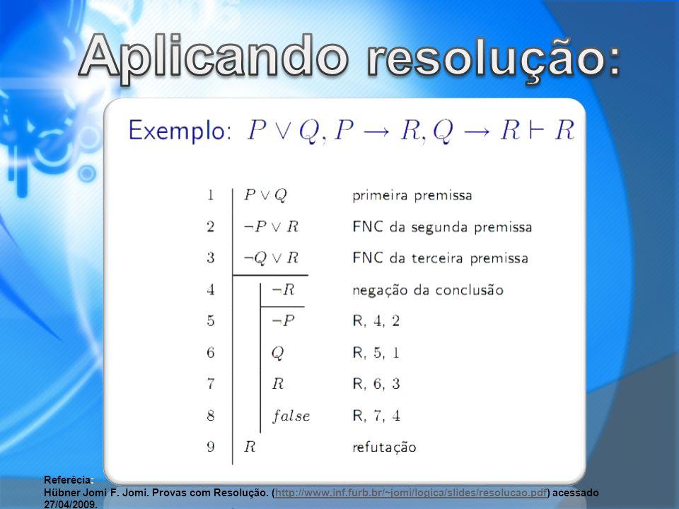 Referêcia: Hübner Jomi F. Jomi. Provas com Resolução. (http://www.inf.furb.br/~jomi/logica/slides/resolucao.pdf) acessado 27/04/2009.http://www.inf.fu