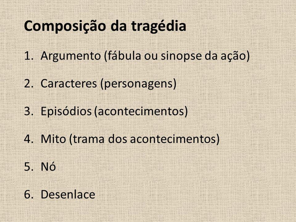 Composição da tragédia 1.Argumento (fábula ou sinopse da ação) 2.Caracteres (personagens) 3.Episódios (acontecimentos) 4.Mito (trama dos acontecimento