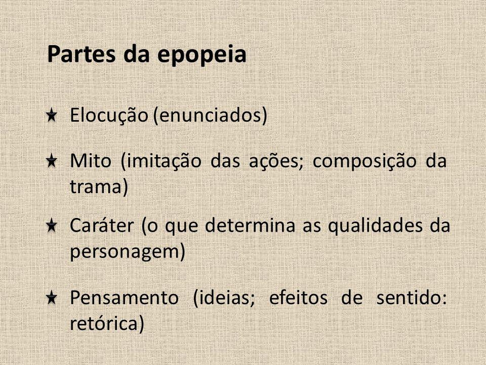 Partes da epopeia Elocução (enunciados) Mito (imitação das ações; composição da trama) Caráter (o que determina as qualidades da personagem) Pensament