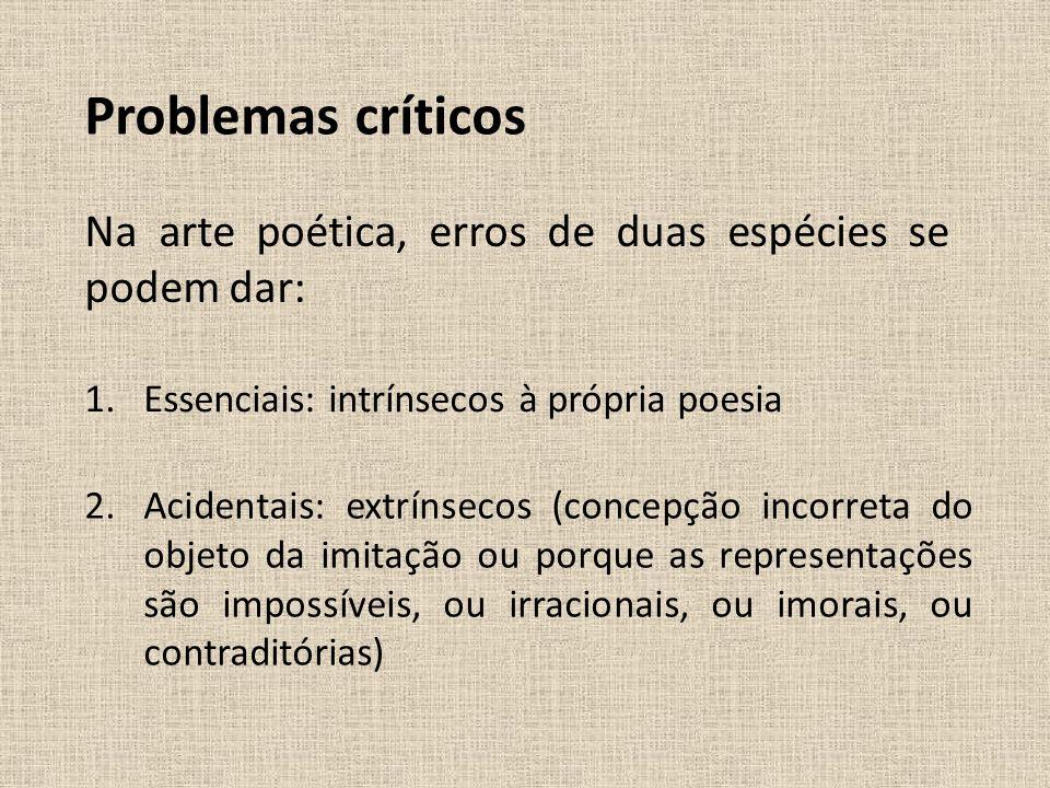 Problemas críticos Na arte poética, erros de duas espécies se podem dar: 1.Essenciais: intrínsecos à própria poesia 2.Acidentais: extrínsecos (concepç