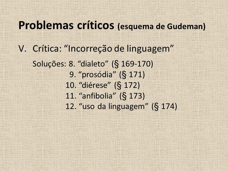 V.Crítica: Incorreção de linguagem Soluções: 8. dialeto (§ 169-170) 9. prosódia (§ 171) 10. diérese (§ 172) 11. anfibolia (§ 173) 12. uso da linguagem