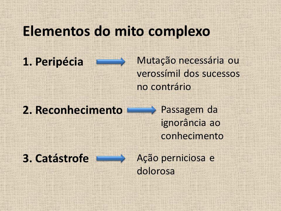 Elementos do mito complexo 1. Peripécia Mutação necessária ou verossímil dos sucessos no contrário 2. Reconhecimento Passagem da ignorância ao conheci