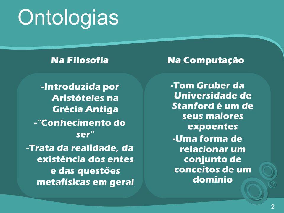 2 Ontologias - Introduzida por Aristóteles na Grécia Antiga -Conhecimento do ser -Trata da realidade, da existência dos entes e das questões metafísic