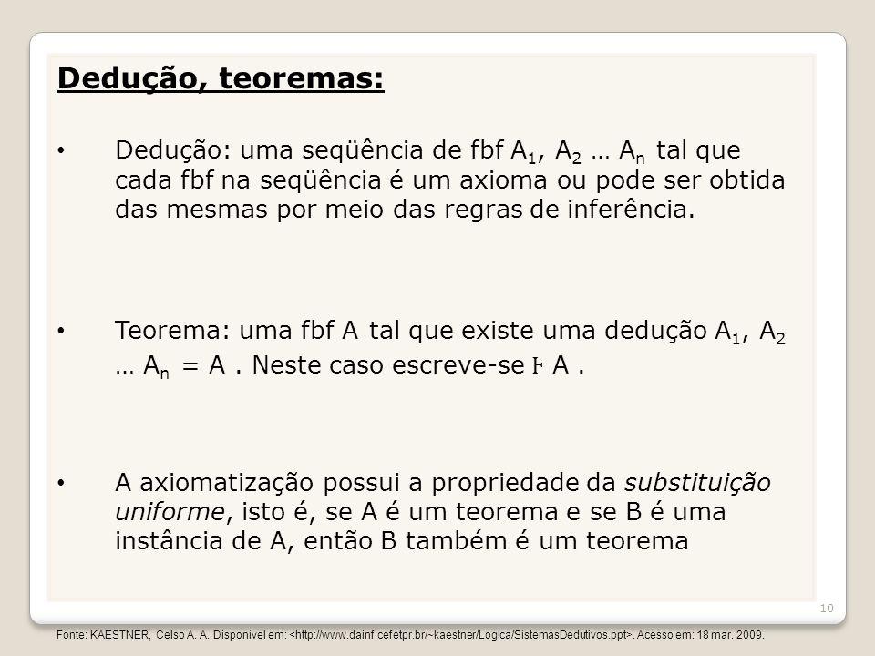 Dedução, teoremas: Dedução: uma seqüência de fbf A 1, A 2 … A n tal que cada fbf na seqüência é um axioma ou pode ser obtida das mesmas por meio das r