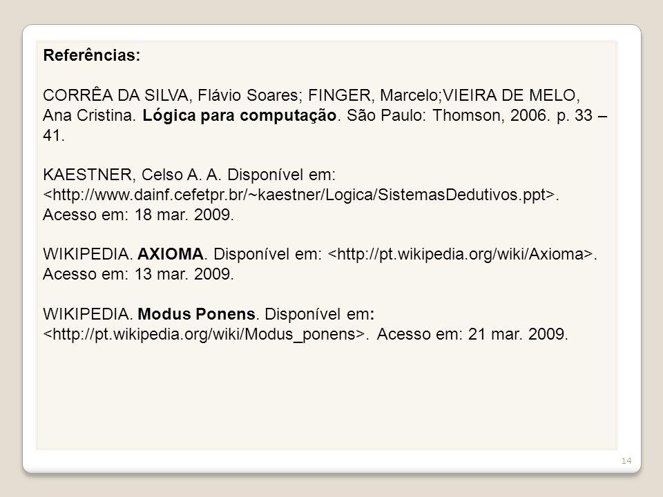 Referências: CORRÊA DA SILVA, Flávio Soares; FINGER, Marcelo;VIEIRA DE MELO, Ana Cristina. Lógica para computação. São Paulo: Thomson, 2006. p. 33 – 4