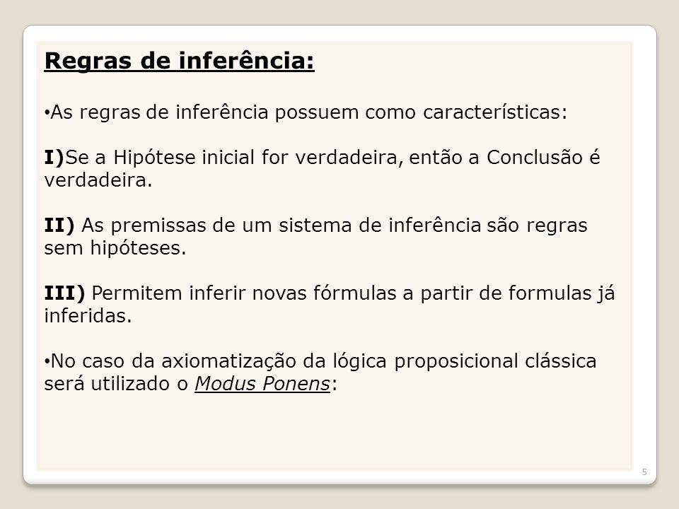 Regras de inferência: As regras de inferência possuem como características: I)Se a Hipótese inicial for verdadeira, então a Conclusão é verdadeira. II